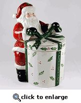 Santa with Gift Ceramic Cookie Jar, 10 Inches Tall
