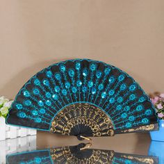 Fashion Lady's Exquisite Embroider Peacock Lace Sequin Folding Hand Fan Party | eBay