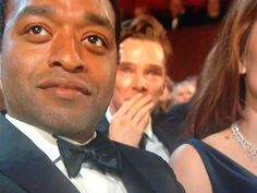 """Benedict crying during Lupita's acceptance speech  < --- Can I get a collective """"awwwwwww""""?"""