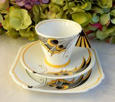 Shelley Porcelain China Mode Butterfly Wing Trio Cup Saucer Plate #Shelley