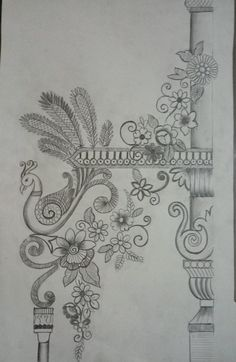 Border Embroidery Designs, Types Of Embroidery, Machine Embroidery Patterns, Basic Sketching, Zardozi Embroidery, Stencil Printing, Deep Art, Pencil Design, Madhubani Art