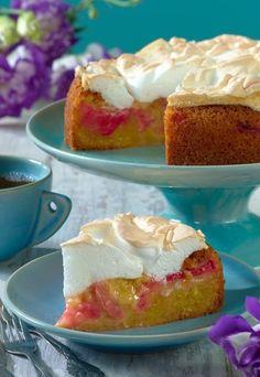 Biszkopt z rabarbarem i bezą German Cake, Just Bake, Biscuits, Cheesecake, Pie, Pudding, Sweets, Bread, Homemade