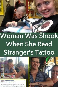"Michelle Torino-Barcelos and her husband were eating lunch when she noticed a man sitting next to her with a strange tattoo. She immediately told her husband to look at it. The tattoo said, ""Together We Serve."" She was curious about what it could mean and has a few different theories. She said:"