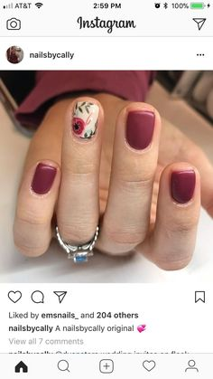 Burgundy color with floral designs nail Decor Style Home Decor Style Decor Tips Maintenance Fancy Nails, Pretty Nails, Ten Nails, Short Nail Designs, Manicure And Pedicure, Short Nails, Manicures, Nails Inspiration, How To Do Nails