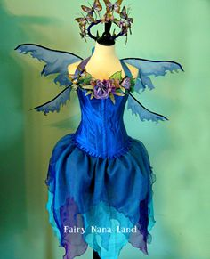 River Woodland Faerie costume with corset top - adult size Large - Butterfly Crown - Organza skirt and wings. $325.00, via Etsy.