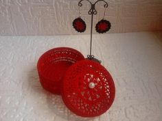 Valentine's Day gift set of crocheted earrings and jewelry box