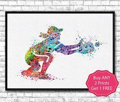 Baseball Softball Catcher 2 Watercolor Print Girl by ArtsPrint