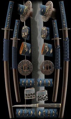 Antique shinto era samurai daisho koshirae (matched set of sword mounts) for wakizashi and katana, worn by the samurai as a symbol of their status.: