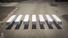 A small town in Iceland, paints clever zebra crosswalk to slow down speeding cars.An amazing - creative development in road safety, a optical illusion pedestrian crossing, appeared in Isafjörður small town in Iceland. 3d Street Art, Passage Piéton, Pedestrian Crossing, 3d Optical Illusions, Zebra Crossing, Colossal Art, Banksy, Local Artists, Public Art