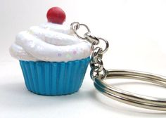 Cupcake Key Chain, Polymer Clay Charm Key Chain, Blue and White Keychain on Etsy, $10.00