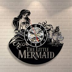 Little Mermaid Ariel Disney Cartoon Vinyl Record Design Wall Clock - Decorate your home with Modern Little Mermaid Art - Best gift for him and her, girlfriend or boyfriend - Win a prize for feedback ** Find out more about the great product at the image link. (This is an affiliate link) #Clocks
