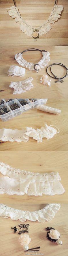 Vent dentelle collier de collier faux: DIY
