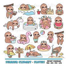 Baby Sloth, Cute Sloth, Funny Sloth, Sloth Cartoon, Cute Cartoon, Kawaii Doodles, Cute Doodles, Kawaii Drawings, Cute Drawings
