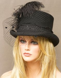 Black Wool Women's Top Hat - Steampunk, Victorian Edwardian Inspired