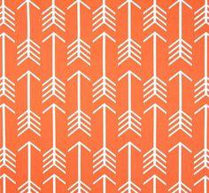 Orange Arrow Home Decor Fabric by the Yard, Designer Drapery or Upholstery Yardage, Tribal Orange Arrow Cotton Fabric, Scandi Style R122