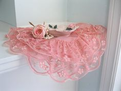 Doily Lacy Doily Pink Shabby Pink French by mailordervintage