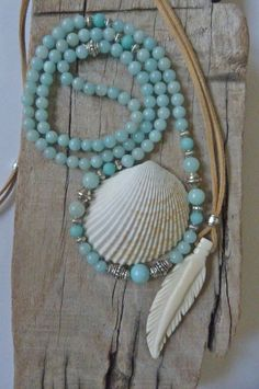aqua mint beaded necklace  beach bohemian aqua by beachcombershop