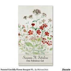 Painted Catchfly Flower Bouquet Vintage Script Double-Sided Standard Business Cards (Pack Of 100)