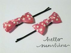 Mini Bow Bobby Pins  Pink With White Polka Dots by elidawe on Etsy, $3.50