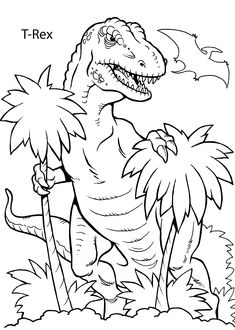 T-Rex dinosaur coloring pages for kids, printable free