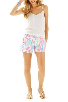 "The Callahan classic short has earned its spot on the production line time and time again because of its flawless fit, consistent quality and unstoppable versatility. Our unique Beach Twill fabric absorbs color and displays print beautifully and will never fade, no matter how many times you loyally wash & wear this twill short.    5"" Inseam   5"" Callahan Classic Short by Lilly Pulitzer. Clothing - Shorts Sandestin Golf and Beach Resort, Florida"