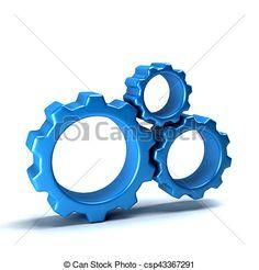3D Gears Working in Team. Render Illustration - csp43367291