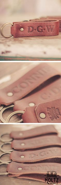 The Tucker Fine Leather Keychain is a great practical gift for your wedding party. This keychain can feature the name or initials of your party. The Tucker Keychain is a great way to identify your keys in style.