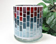 Beautiful handmade stained glass candle holder made using red and blue glass pieces! The grout is light blue. Holder measures - 4 in. tall x Gaudi Mosaic, Mosaic Tile Art, Mosaic Artwork, Mosaic Glass, Mosaic Planters, Mosaic Flower Pots, Mosaic Art Projects, Mosaic Crafts, Votive Candles