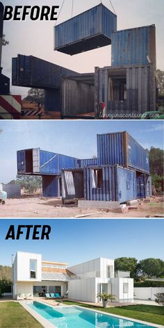 Building A Container Home, Container Buildings, Container Architecture, Container Homes, Small House Design, Modern House Design, Shipping Container Home Designs, Shipping Containers, Bungalows