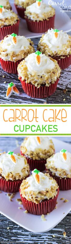A recipe for Carrot Cake Cupcakes. These perfectly moist and fabulously flavorful cupcakes are packed with freshly grated carrot and sweet pineapple. Topped with fluffy, vanilla cream cheese frosting Sweet Desserts, Just Desserts, Sweet Recipes, Delicious Desserts, Yummy Food, Carrot Cake Cupcakes, Yummy Cupcakes, Cupcake Cakes, Cup Cakes