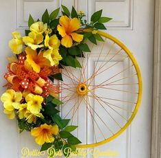 Upcycled Bicycle Rim, Bicycle Rim Wreath, Painted Bicycle Rim, Bike Rim, Tropical Rim, Tropical Wreath Bicycle Rims, Bicycle Art, Bicycle Wheel, Wooden Bicycle, Bicycle Crafts, Diy Spring Wreath, Bicycle Painting, Flower Cart, Ideias Diy