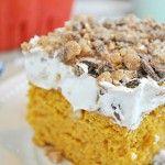 Pumpkin Better Than... Cake: 1 box yellow cake mix  14 oz pumpkin puree (NOT PUMPKIN PIE FILLING)  1 tsp pumpkin pie spice  14 oz. can sweetened condensed milk  8 oz. tub cool whip  1/2 bag Heath Bits  Caramel Sundae Sauce