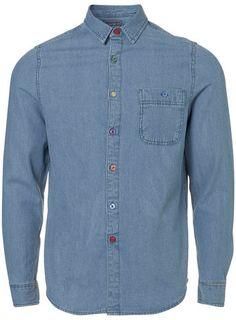 Blue Rainbow Stitch Denim Shirt