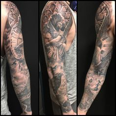 Black and Grey Religious statue sleeve