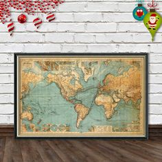 Huge classic world map canvas pinterest big boy bedrooms world map restored chart of the world vintage by ancientshades gumiabroncs Choice Image