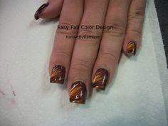 Easy Fall Color Nail Art