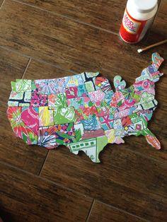 Lilly Pulitzer USA Map by RedWhiteAndChloe on Etsy