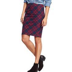 Navy + Red Plaid Tartan Pencil Skirt (never worn) Never worn // navy blue & red plaid pencil skirt // side zipper Old Navy Skirts Pencil