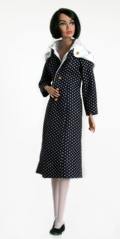 Navy blue and white polka dot raincoat for Barbie Silkstone Fashion Royalty Dolls