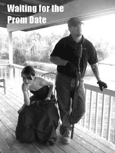 My dad totally did this! He put every gun he owns on our table and sat there polishing them, one by one, staring at my date as he waited inside the door. No words necessary. Haha!