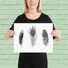 Unique Art Prints, Tribal Feather Print - A Perfect Gift For Your Home.This beautiful bohemian feather poster is a statement in any room, and will brighten up you living environment.The illustration was drawn by me, using pen on paper. Peacock Decor, Peacock Print, Tribal Feather, Feather Print, Nordic Art, Nordic Design, Wall Art Prints, Poster Prints, Hipster Decor