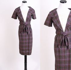 Plaid / Vintage 40s Dress / 1940s Dress / Forties by aiseirigh, $88.00