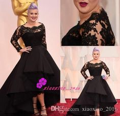 Black Lace Long Sleeves Hi-Lo Celebrity Formal Evening Dresses Sheer Bateau Neck 87th Oscar Awards Kelly Osbourne Party Prom Gowns Plus Size Online with $132.14/Piece on Xiaoxiao_2016's Store   DHgate.com
