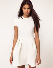 New Aqua Viper Structured Skater Dress in Cream rrp £110