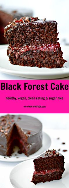 Black Forest Cake - Decadent combination of moist chocolate cake, sour cherry filling and luscious chocolate frosting. Vegan Treats, Vegan Desserts, Delicious Desserts, Sweet Recipes, Cake Recipes, Dessert Recipes, Chocolate Frosting, Chocolate Cake, Black Forest Cake