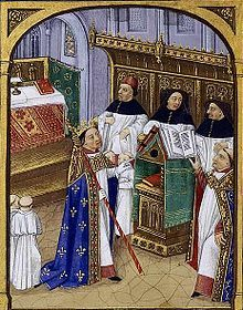 Robert le Pieux dans la cathédrale d'Orléans - Grandes Chroniques de France - vers 1471 - BNF - Paris
