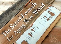 How to Make New Wood Look Old, Weathered and Rustic - Pretty Handy Girl. See this for glazes and paint DIY Signs Furniture Projects, Wood Projects, Diy Furniture, Furniture Repair, Antique Furniture, Furniture Refinishing, Wicker Furniture, Furniture Companies, Rustic Furniture