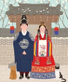 Korean Traditional, Traditional Wedding, Traditional Outfits, Boy Illustration, Wedding Illustration, Korean Art, Asian Art, Chinese Picture, Korea Dress