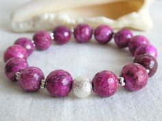 Stretch Purple Howlite Bracelet by CloudsOfFantasy on Etsy, $15.00