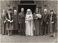 1940s military wedding: Note the eye patch on the maid of honor...!
